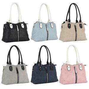 Damen Handtasche Schulterriemen Henkeltasche Reißverschluss Tasche