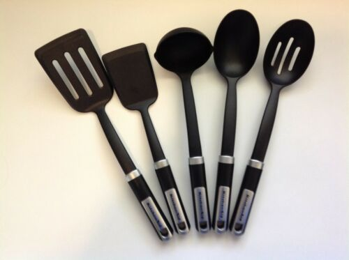 New KitchenAid Black Gourmet Cooking Utensils 5 Piece Ladle Spoon Gourmet