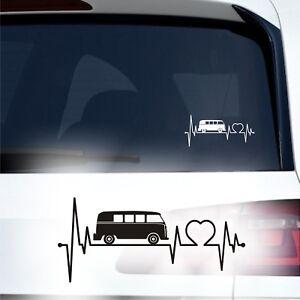 Bus Herzschlag Auto Aufkleber 20cm Herz Tattoo Heck Camper