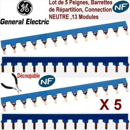 Lot 5 Peignes Répartition,Pontage,Neutre 13 modules,Broche,Barrette,Alimentation