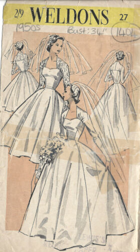 1404 1950s Vintage Sewing Pattern B34 BRIDE/'S WEDDING DRESS