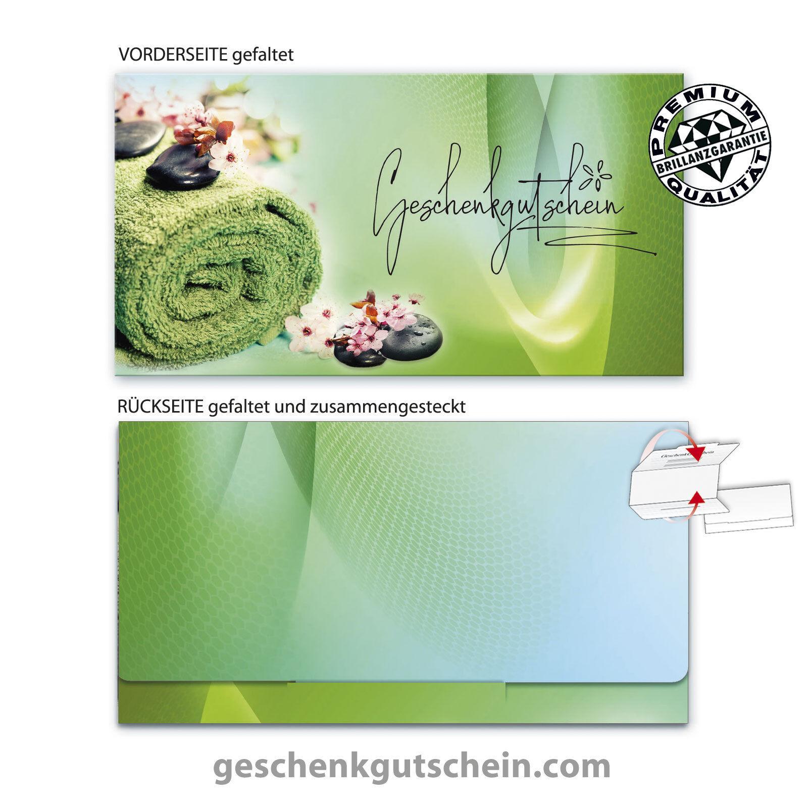 Premium Faltgutscheine  MultiFarbe  für Massage Wellness Spa Verwöhnen  MA260  | Einzigartig  | Verschiedene Waren
