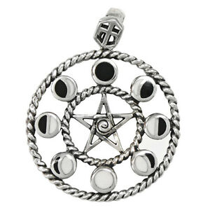 Sterling silver lunar moon phases pentacle pendant pentagram wiccan image is loading sterling silver lunar moon phases pentacle pendant pentagram aloadofball Gallery