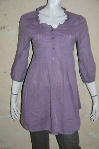 COP-COPINE-Taille-38-Superbe-chemise-longue-tunique-mauve-femme-WESTERN