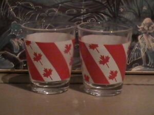 Pair-of-Red-and-White-Canada-Maple-Leaves-Shot-Glasses-Taiwan-N0-20-22