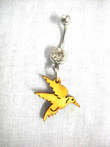 New Full Body Hummingbird Wooden Bird Charm On Clear Cz Belly Ring