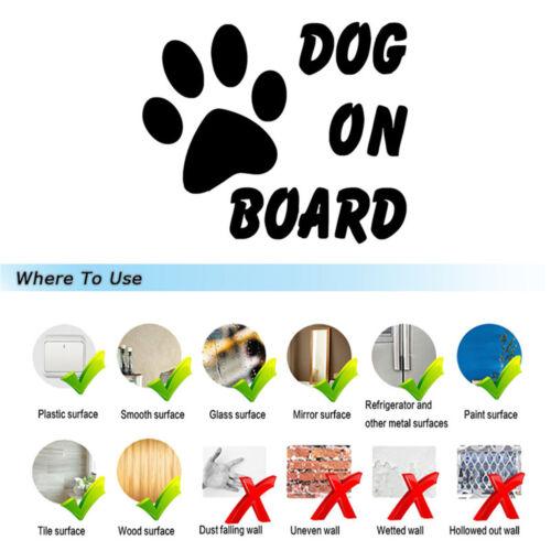 DOG ON BOARD Footprint Safety Sign Funny Car Warning Decal Window Vinyl Sticker