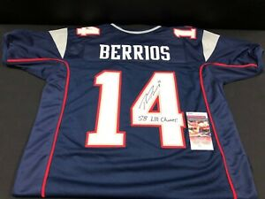 new york a2787 eff6e Details about BRAXTON BERRIOS NEW ENGLAND PATRIOTS SIGNED BLUE JERSEY JSA  WITNESS COA W/INSC