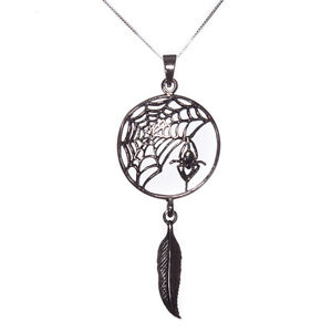 Sterling silver 925 spider web dream catcher pendant necklace lisa image is loading sterling silver 925 spider web dream catcher pendant mozeypictures Images