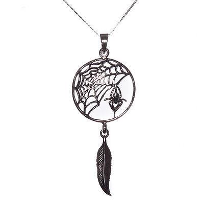 Sterling Silver 925 Spider Web Dream Catcher Pendant Necklace Lisa Parker
