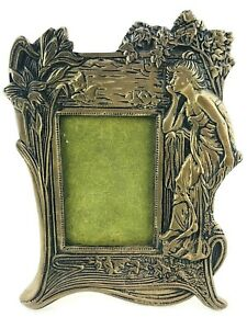 Antique-Victorian-Picture-Frame-Brass-Woman-Lily-Flower-1900-s-Handcrafted