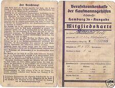 17701/ Mitgliedskarte Berufskrankenkasse d. Kaufmannsgehilfen, Hamburg 1937
