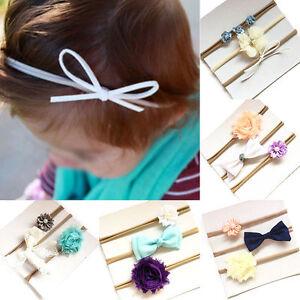 350dea61552c 3Pcs set Pretty Cute Baby Girls Infant Flower Bow Headband Hair Band ...