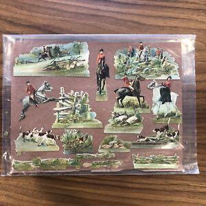 LOT-Antique-Die-Cut-Victorian-Horse-Riding-Jumps-dog-Scraps-Jockey-Hat-Racing
