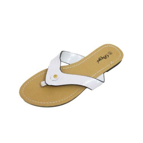 Femmes blanc toepost synthétique brillant cuir plat ete slip-on sandal uk 3-9