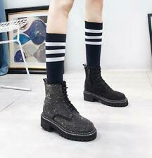 Rhinestone Round Toe Ankle Boots Womens Shiny Lace Up Knight Riding Shoes Flats