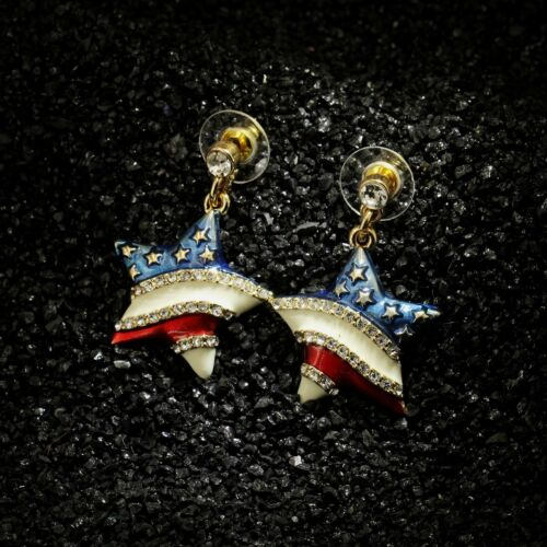 Boucles d/'Oreilles Clous Doré Etoile Drapeau Américain Bleu Blanc Rouge BB 8