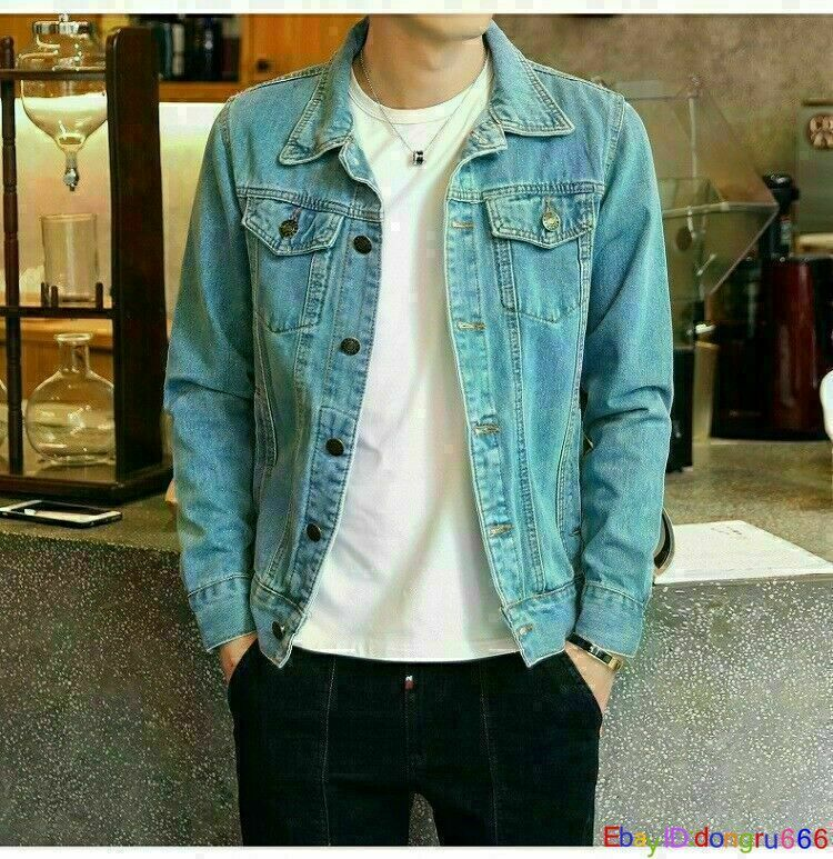 Men's Spring Autumn Slim Denim Jackets Coat Boys Washed Retr