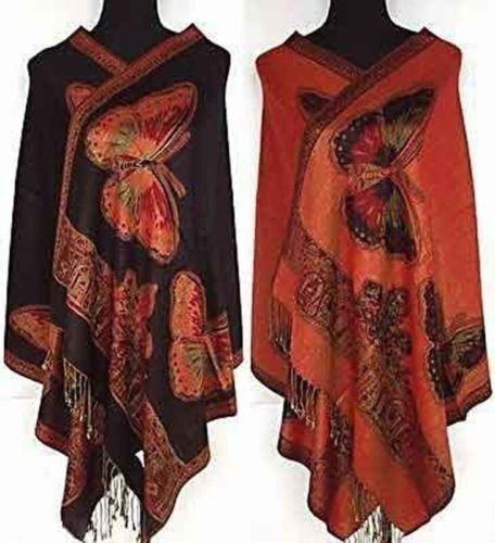 Double-Side Women/'s Butterfly Pashmina /& Silk Shawl Scarf Wraps Scarves Shawls