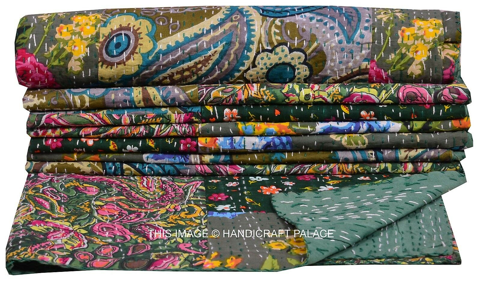 Indian Floral Paisley Patchwork Twin Kantha Quilt Grün Bedspread Bedding Throw
