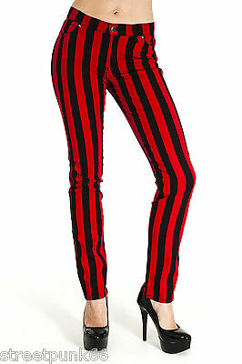 """NEW WOMENS SKINNY STRETCH MID RISE BLACK AND RED 1"""" STRIPE JEANS INDIE RETRO"""
