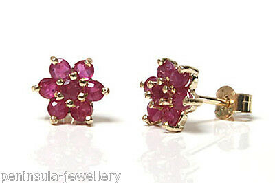 9ct Gold Ruby Cluster stud Earrings Gift Boxed Made in UK