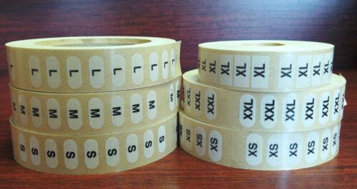 """- 500 Each Size 3000 Clothing Size Strips Stickers 1/""""x2-3//4/"""" XS S M L XL XXL"""