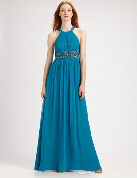 Aidan Mattox Beaded Turquoise Gown, Size 6 NEW With Tags