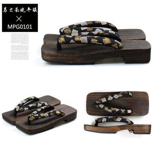 Japanese Mens Flat Heel Geta Clog Kimono Flip-flop Sandal Wood Slipper Cosplay