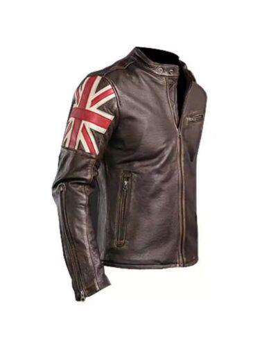 New Men/'s Biker Vintage Distressed Brown Union Jack Cafe Racer Leather Jacket