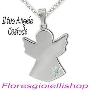 Nuovi Prodotti 9864f 91d47 Dettagli su Collana Angelo Custode, ciondolo angioletto argento con topazio  azzurro