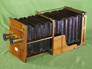 Rare-P-meagherstereo-Hayon-Camera-Whole-plate-acajou-laiton-bois-c-1880