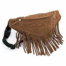 BROWN FAUX SUEDE TASSEL FRINGE BUM BAG BOHO FASHION FESTIVAL HOLIDAY FANNY PACK