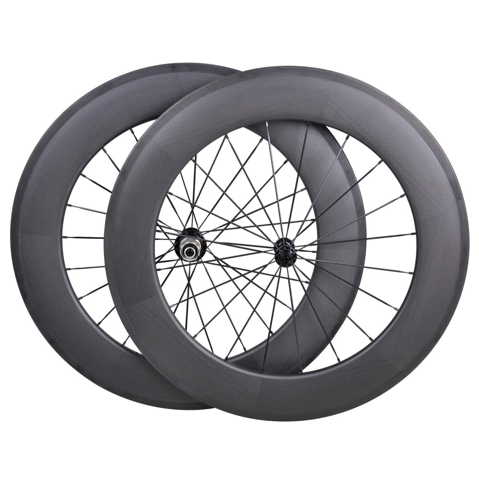 88mm Carbon Wheelset Clincher Road Bicycle Rim Tape 700C 3k Matt Powerway R13