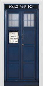 WALL-STICKER-POLICE-BOX-BLUE-UK-TARDIS-FANTASY-DOOR-ART-PRINT-AK2792
