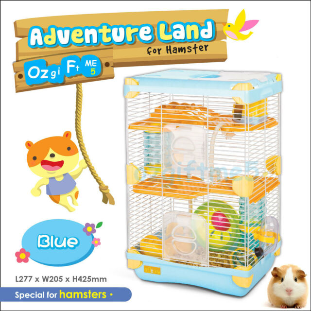 42.5cm Height 3 Level Hamster Mice Rat Rodent Mouse Pet Cage Wheel House Blue