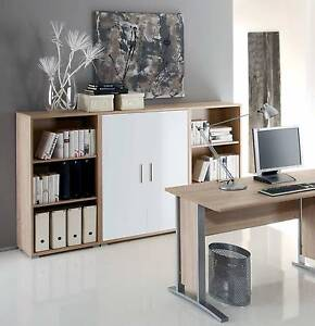 aktenschrank highboard regal schrank b rom bel office line in eiche wei glanz ebay. Black Bedroom Furniture Sets. Home Design Ideas