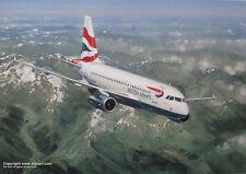 BRITISH AIRWAYS AIRBUS A319 AIRLINER ART PRINT ANTHONY COWLAND