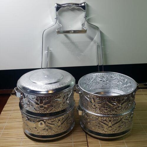 Thai Tiffin Lunch Box Tier Rare Vintage Aluminum Container  Food Carrier Bento