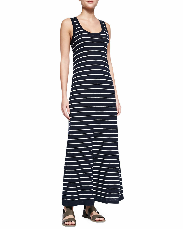 NWT- Vince Striped Cotton Maxi Dress, Coastal Navy bluee White - Size Small