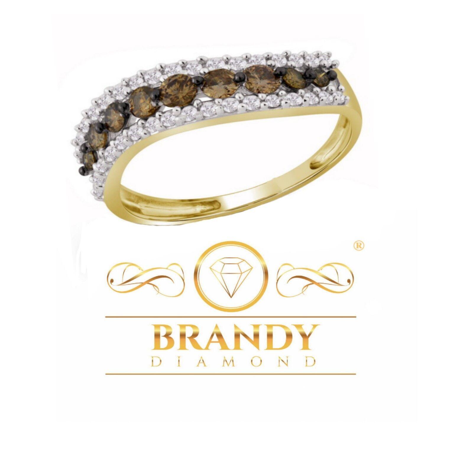 Brandy Diamond® Chocolate Brown 10K Yellow gold Luxury Eternity Ring .79 Ct
