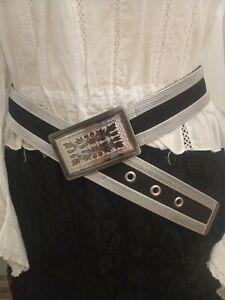 Silver-black-tone-edwardian-style-chain-link-belt-steampunk-vintage-inspired