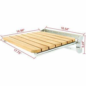 Details About 18 X15 Folding Shower Bench Wall Mounted Seat Teak Shower Seat Yae1688