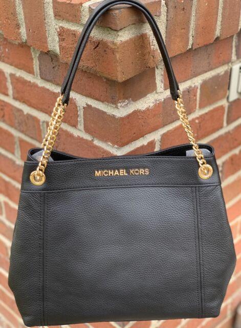 Michael Kors Jet Set Chain BLACK PEBBLED LEATHER LARGE Tote Shoulder Bag