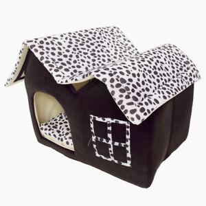 Plush-Pet-Bed-House-Small-Dog-Cat-Warm-Soft-Flannelette-Kennel-Cushion-Villa