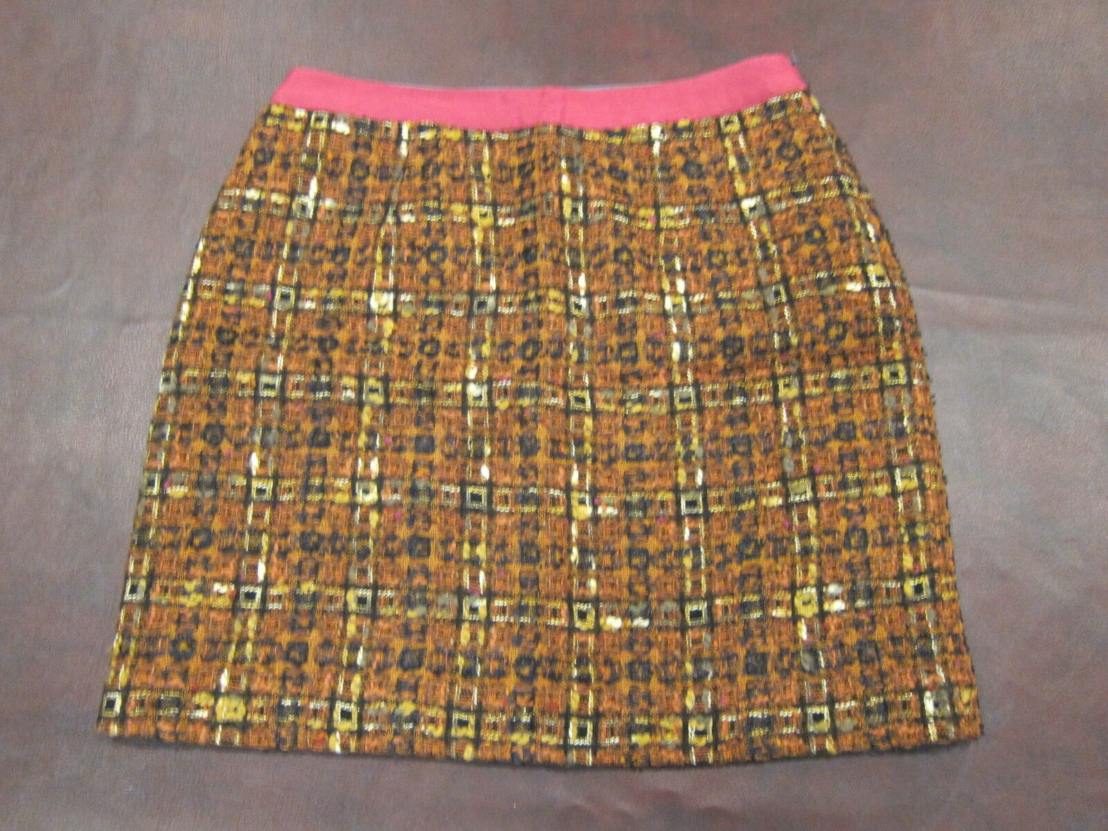 Boden Limited Edition Size 8 Brown and orange Brown Skirt Vtg Fabric Tweed