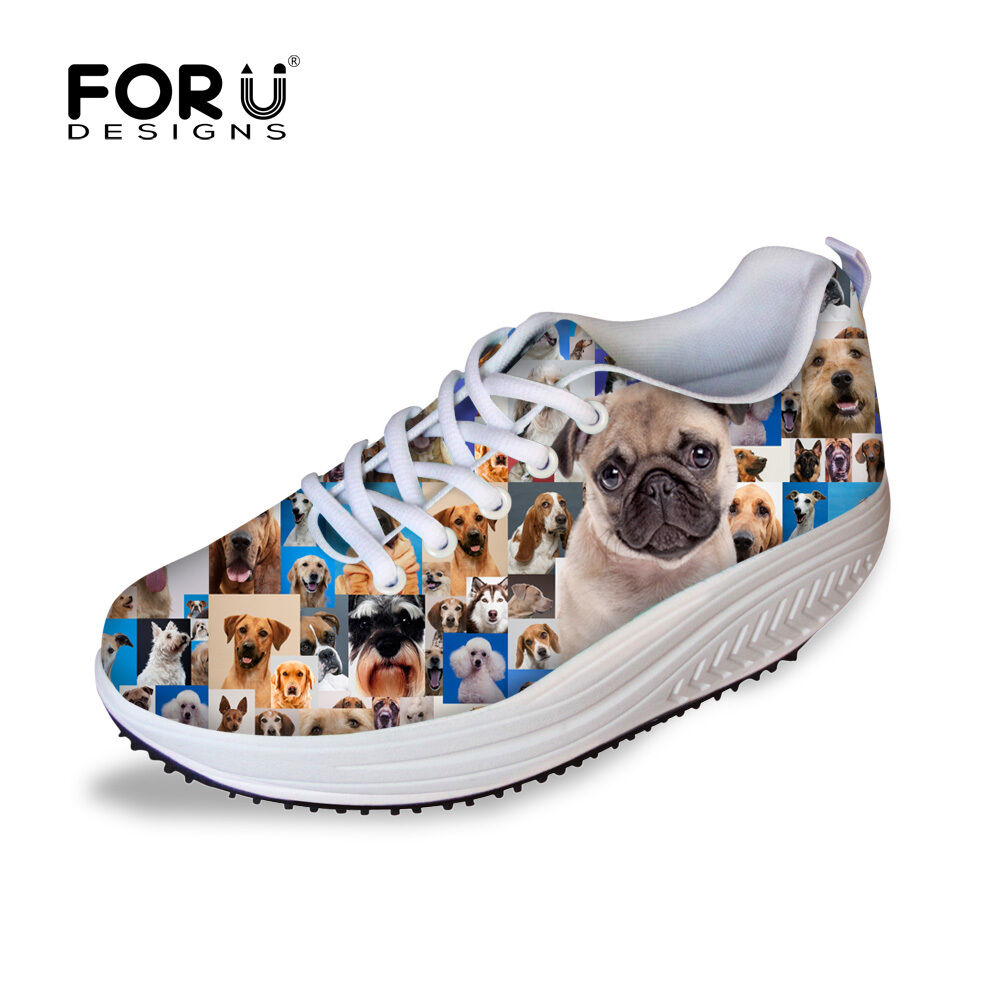 Fashion Animal Mesh Shape Up shoes Women Ladies High Wedge Platform Sneakers