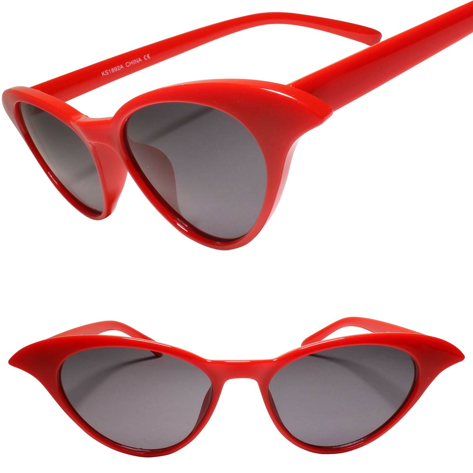 Classy Exotic 60s 70s style Look Red Frame Womens Cat Eye Sunglasses