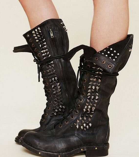 Retro Retro Retro real leather ladies knee high punk studs boots motor punk lace up shoes sz 161101