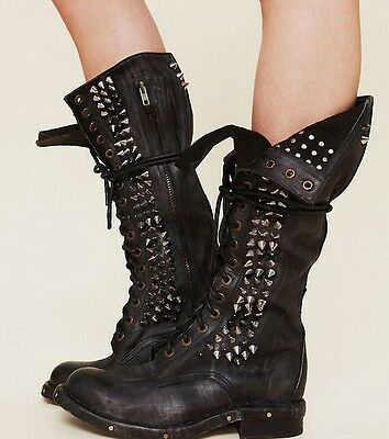 retro real leather women's knee high punk studs boots motorcycle lace up shoes